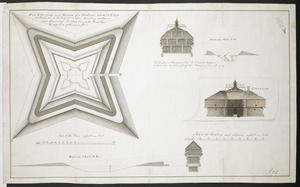 Plan Elevation and sections of Blockhouse to be built at Penobscot in the Bay of Funda to contain 100 Men or more if necessary. The dotted line in the Plans shows the projection of the upper floor