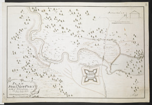 PLAN OF FORT NEW-PORT with ye Situation done by a Scale 100 feet to one Inch