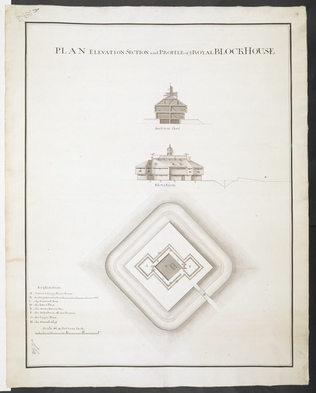 PLAN ELEVATION SECTION and PROFILE of ye ROYAL BLOCKHOUSE