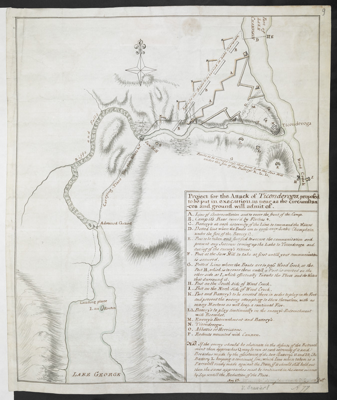 Project for the Attack of Ticonderoga, proposed to be put in executino as near as the circumstances and ground will admit of