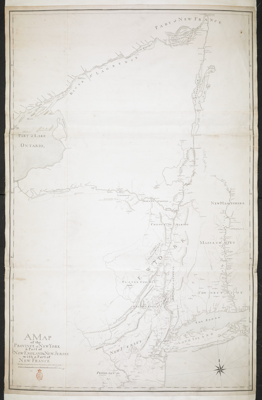 A MAP of the PROVINCE of NEW YORK & Part of NEW ENGLAND & NEW JERSEY with Part of NEW FRANCE the whole Compsed from Actual Surveys by a Scale 8 miles to a Inch