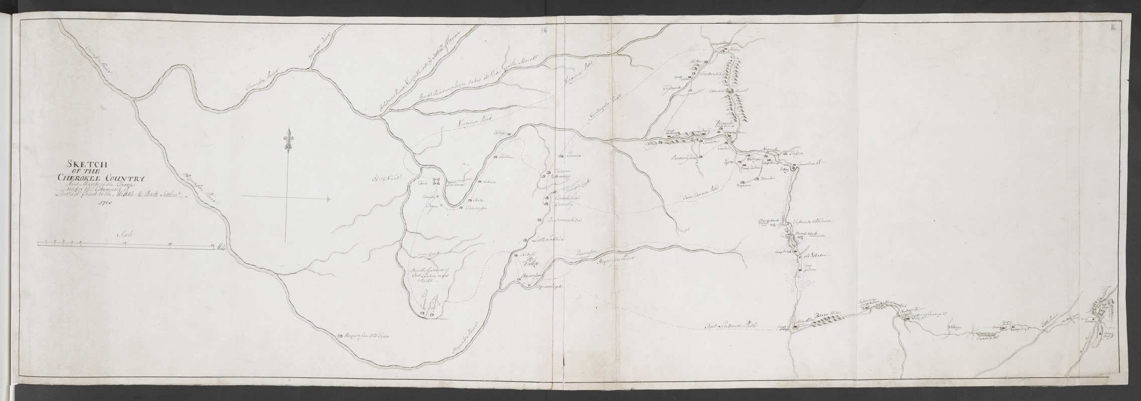 SKETCH OF THE CHEROKEE COUNTRY And March of the Troops Under the Command of Luet. Col. Grant to the Middle & Back Settlem:ts. 1761