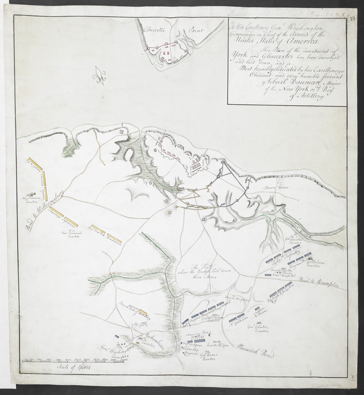 To his Excellency Gen.l Washington Commander in Chief of the Armies of the United States of America This Plan of the investment of York and Gloucester has been surveyed and laid down and is humbly dedicated