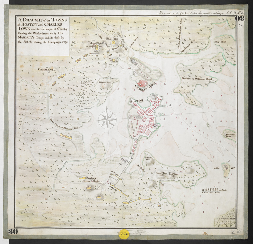 A DRAUGHT of the TOWNS of BOSTON and CHARLES TOWN and the Circumjacent Country shewing the Works thrown up by His MAJESTY'S Troops and also those by the Rebels during the Campaign 1775