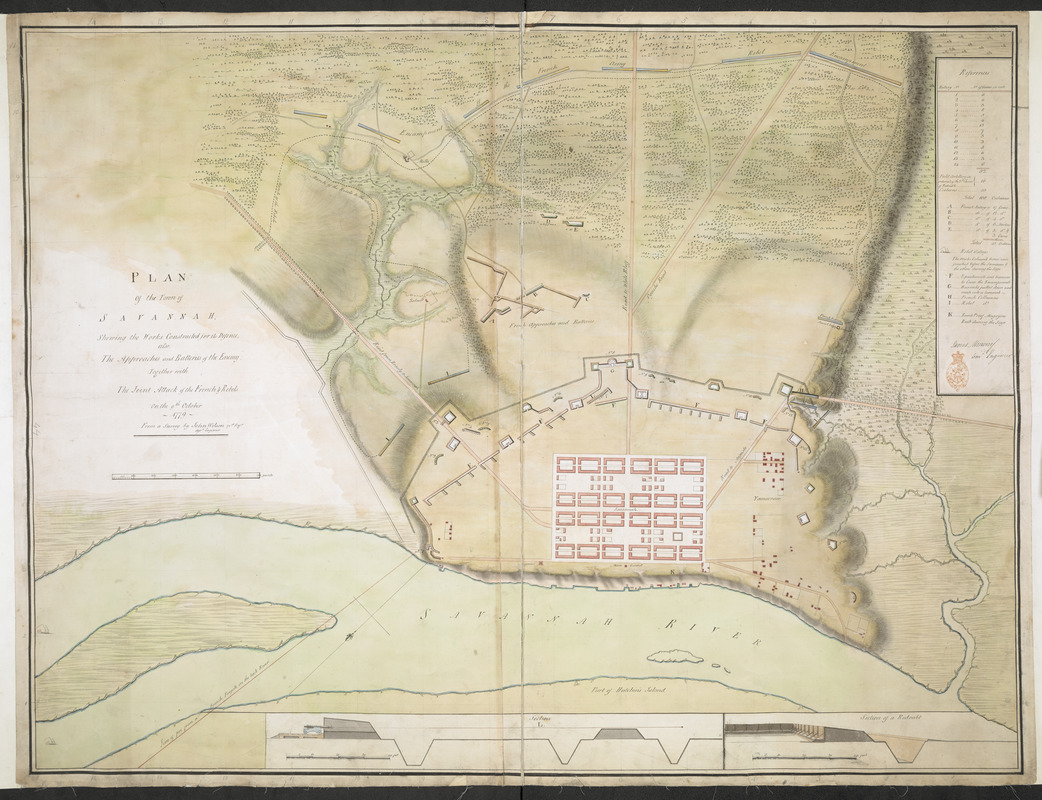 PLAN Of the Town of SAVANNAH, Showing the Works Constructed for its Defence; also, The Approaches and Batteries of the Enemy: Together with The Joint Attack of the French & Rebels on the 9th October 1779