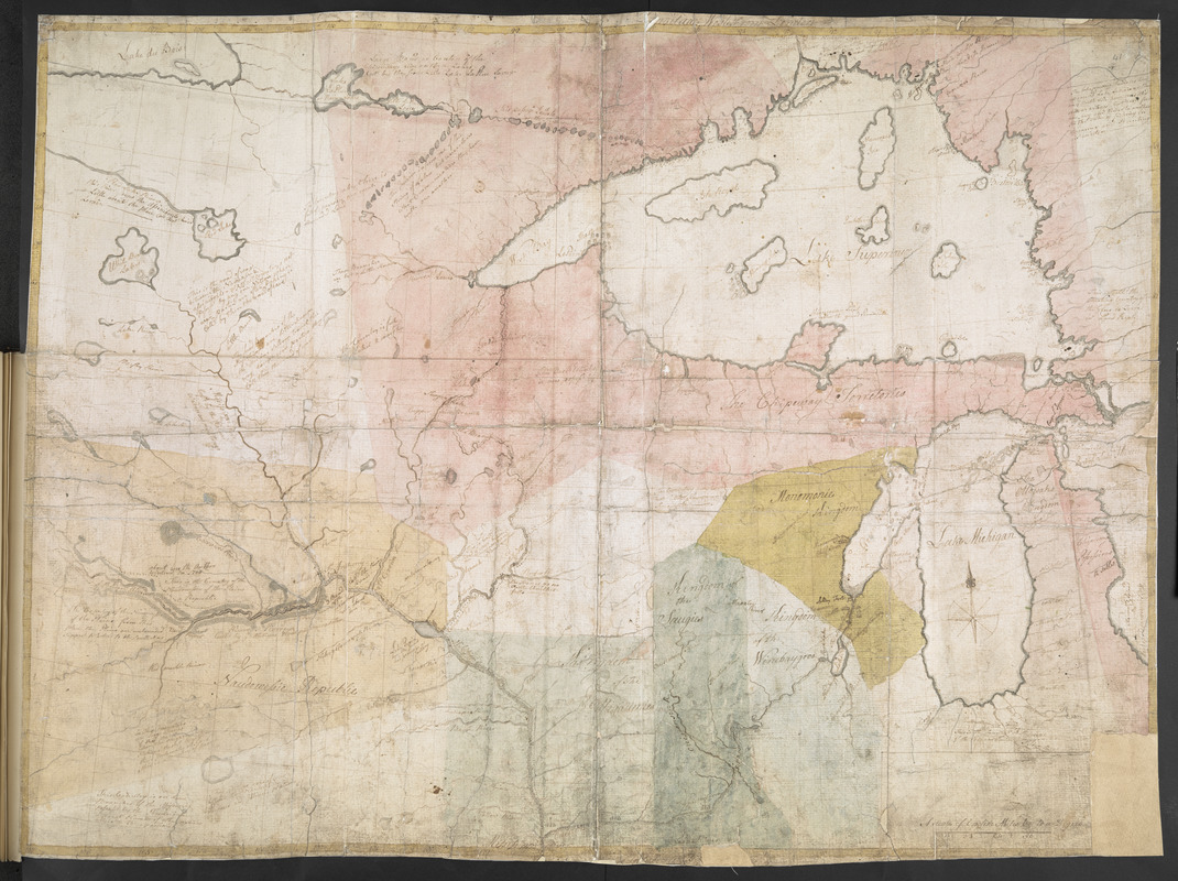 [Map showing Jonathan Carver's travels west of the Great Lakes.]