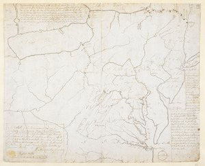 A Sketch of the Provinces of New York, New Jersey, Pensilvania, Maryland & Virginia shewing the line of forts lately built on the frontiers of those Colonies, and their Scituation with respect to the french forts on the Ohio & Lake Erie, Also the Route from Albany to Oswego with the forts built & to be for its Security