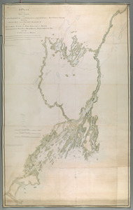 A PLAN of the SEA COAST from CAPE ELIZABETH to the ENTRANCE of SAGADAHOCK or KENNEBECK RIVER Including Casco Bay with all it's ISLANDS HARBORS, &c. also KENNEBECK RIVER from FORT HALIFAX to its MOUTH AMORISCOGIN RIVER from DEAD RIVER to MERRYMEETING BAY and the LAKES between these RIVERS