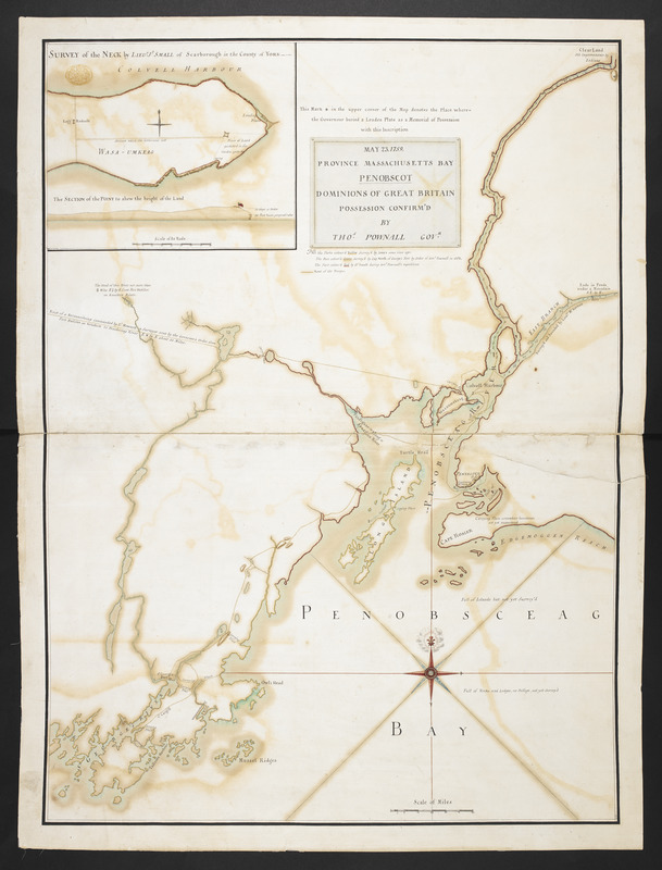 MAY 23. 1759. PROVINCE MASSACHUSETTS BAY PENOBSCOT DOMINIONS OF GREAT BRITAIN POSSESSION CONFIRM'D BY THOS. POWNALL GOVR