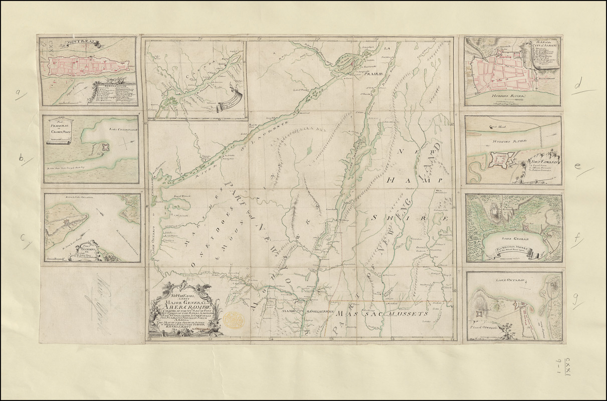TO HIS EXCELLENCY MAJOR GENERAL ABERCROMBIE COLONEL OF THE 44TH REG:T OF FOOT CO: IN CHIEF OF THE ROYAL AMERICAN REG: & COMMANDER IN CHIEF OF ALL HIS MAJESTYS FORCES IN NORTH AMERICA THIS MAP OF THE SCENE OF ACTION IS HUMBLY SUBMITTED TO YOUR EXCELLENCY