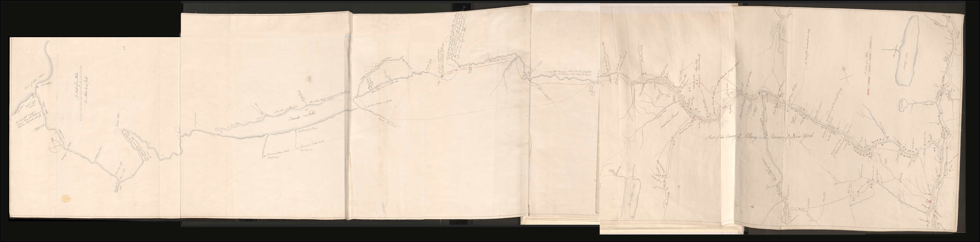 [A colored map of the route between Albany and Oswego; drawn about 1756, on a scale of 2 miles to an inch]