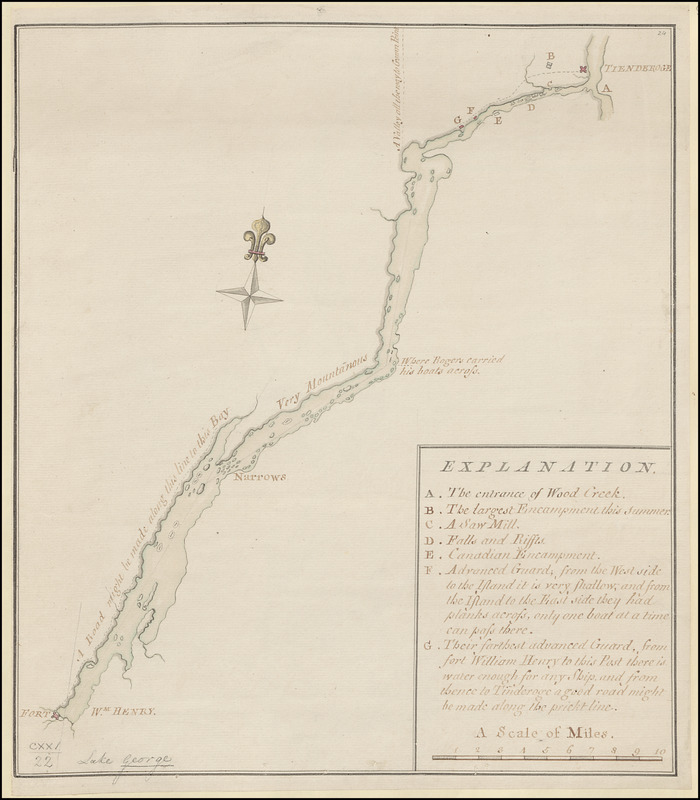 [A map of Lake George from Fort William Henry to Ticonderoga]