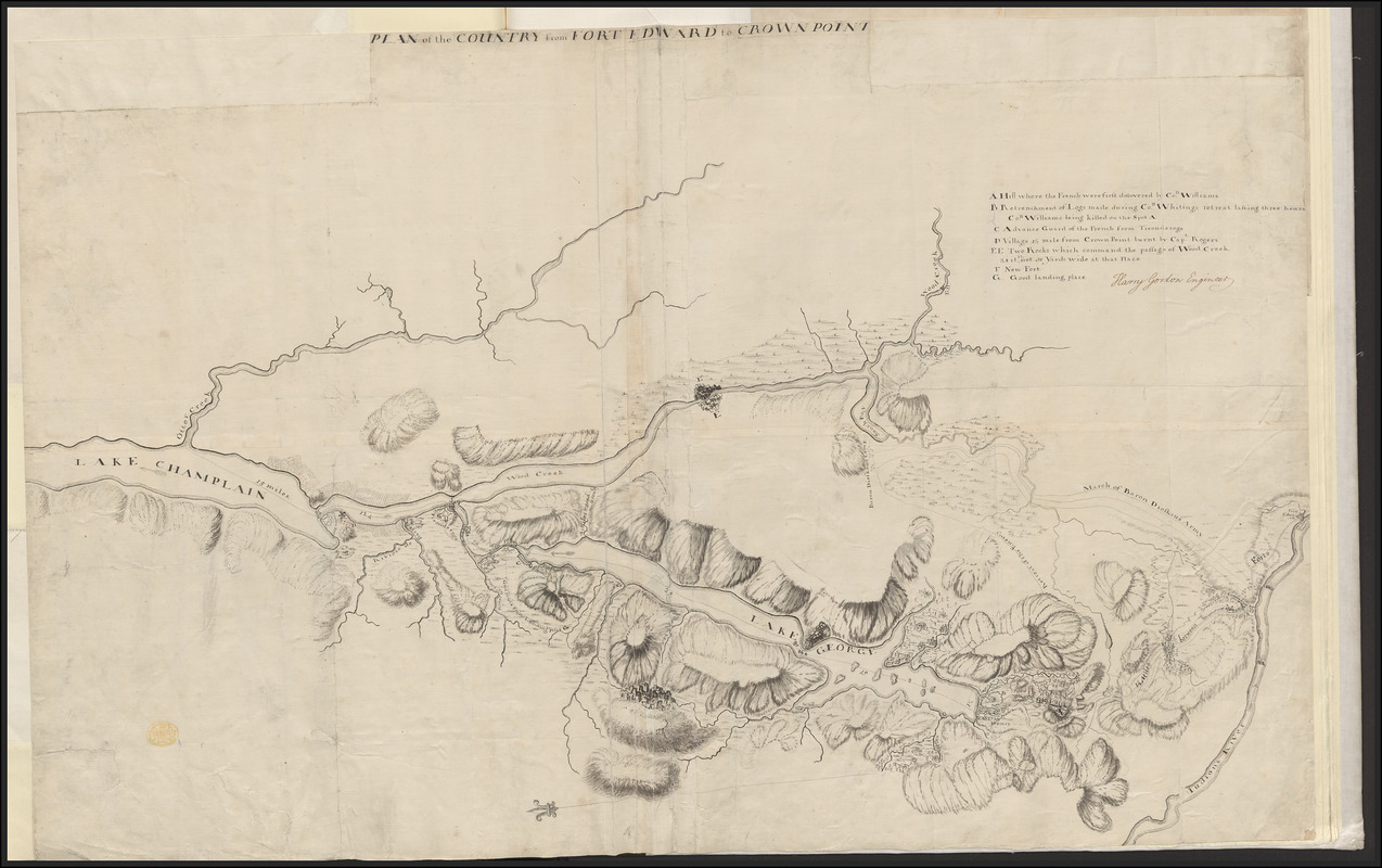 PLAN of the COUNTRY from FORT EDWARD to CROWN POINT