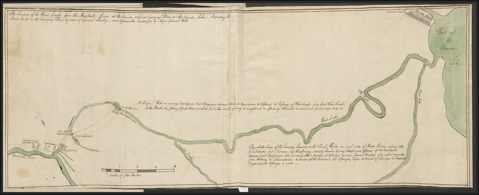 The Course of the Wood Creek from the Mowhock River at the Onoida or Great Carrying Place to The Onoida Lake. Representing the Forts built on the Carrying Place by order of General Shirley: and Afterwards destroyed by Major General Webb