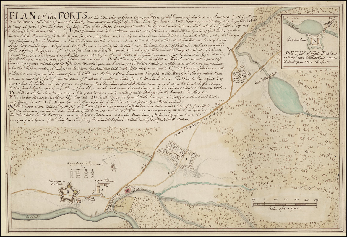PLAN of the FORTS at the Onoida or Great Carrying Place in the Province of New York in America built by Major Charles Craven by Order of General Shirley Commander in Chiefe of all His Majesty's Forces in North America; and Destroyed by Gen.l Webb 31st. August 1756, before they were finished, also of General Webbs Encampment within his Entrenchments & Great Works, which he quitted 1st. September 1756 & Retreated to the German Flatts