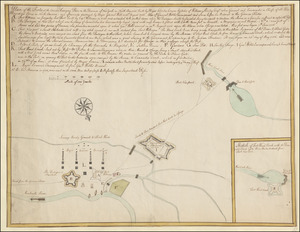 Plan of the Forts at the Onoida or Great Carrying Place in the Province of New York in North America built by Major Charles Craven by Order of William Shirley Esq.r when General and Commander in Chiefe of all His Majesty's Forces in North America; and afterwards destroyed by Major Gen.l Webb on 31st. August 1756. Also of General Webbs Encampment and Lines before his Retreat to the German Flatts