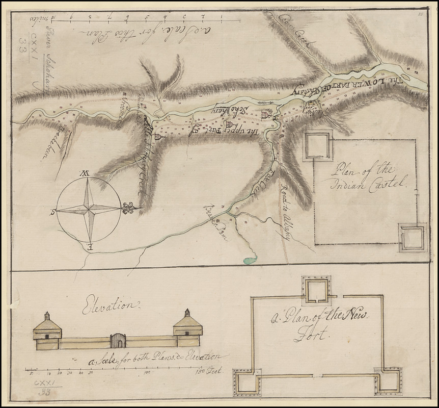 [A map of the River Schohary with a plan and elevation of the new fort]