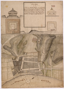 PLAN of the CITY of ALBANY with the Designs for Securing it by the Addition of a Ditch, and Rampart; with Detached Redouts or Block houses to take Possesion of the Commanding Grounds round the Town, also Shewing the proposed Barracks for 640 Men, Hospital for 400 Sick, and Magasines for Provisions