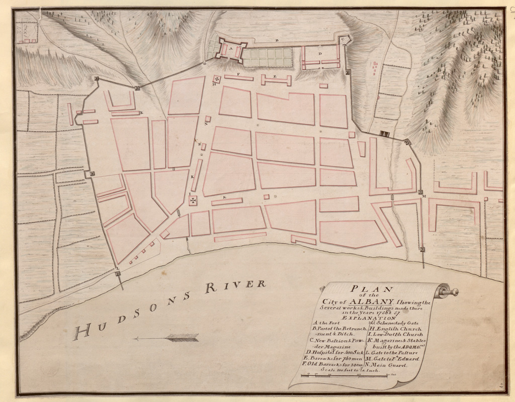PLAN of the City of ALBANY Shewing the Several works & Buildings made there in the Years 1756 & 57