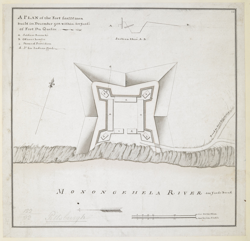 A PLAN of the Fort for 220 men built in December 1758 within 400 Yard's of Fort du Quesne