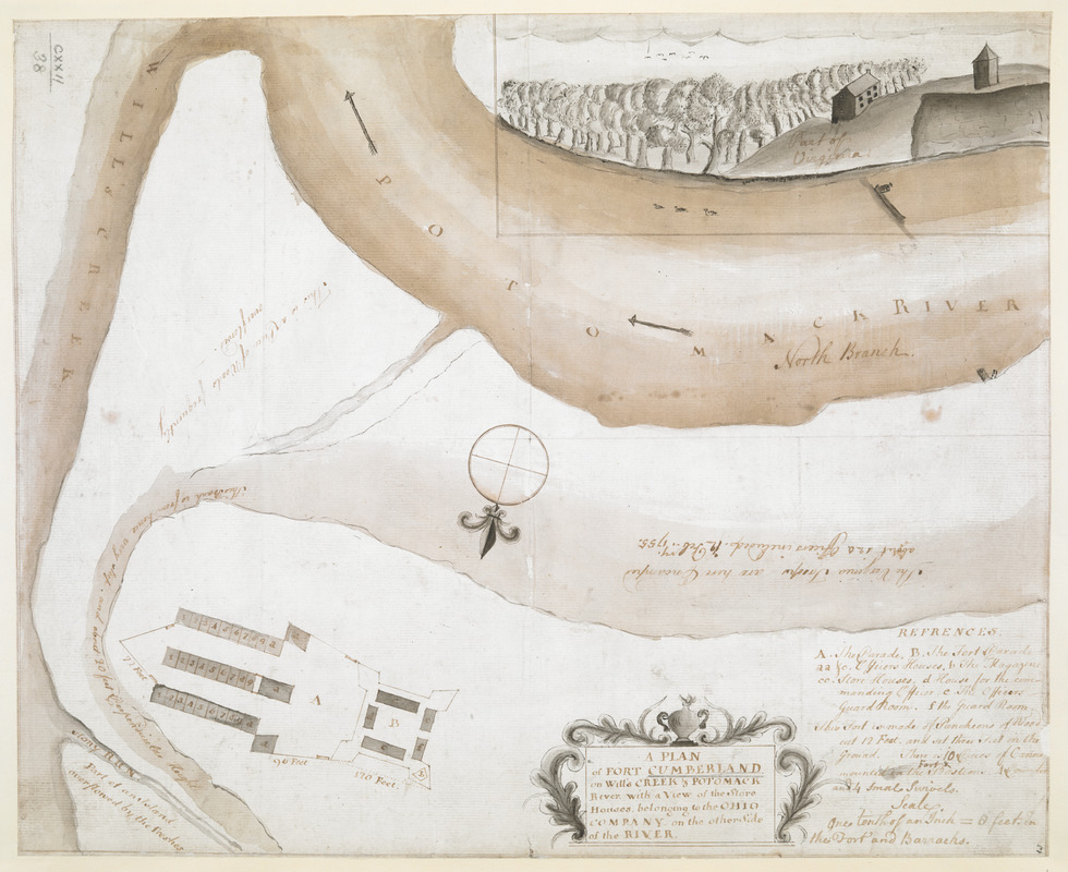 A PLAN of FORT CUMBERLAND on Will's CREEK & POTOMACK River with a View of the Store Houses belonging to the OHIO COMPANY on the Other Side of the River