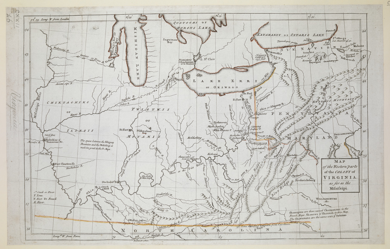 Map Of The Western Parts Of The Colony Of Virginia As Far As The