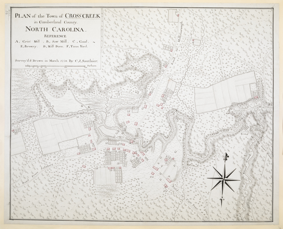 PLAN of the Town of CROSS CREEK in Cumberland County. NORTH CAROLINA