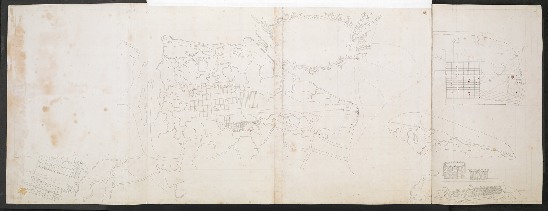 [Map of Saint Simons and Jekyll Islands with fortifications]