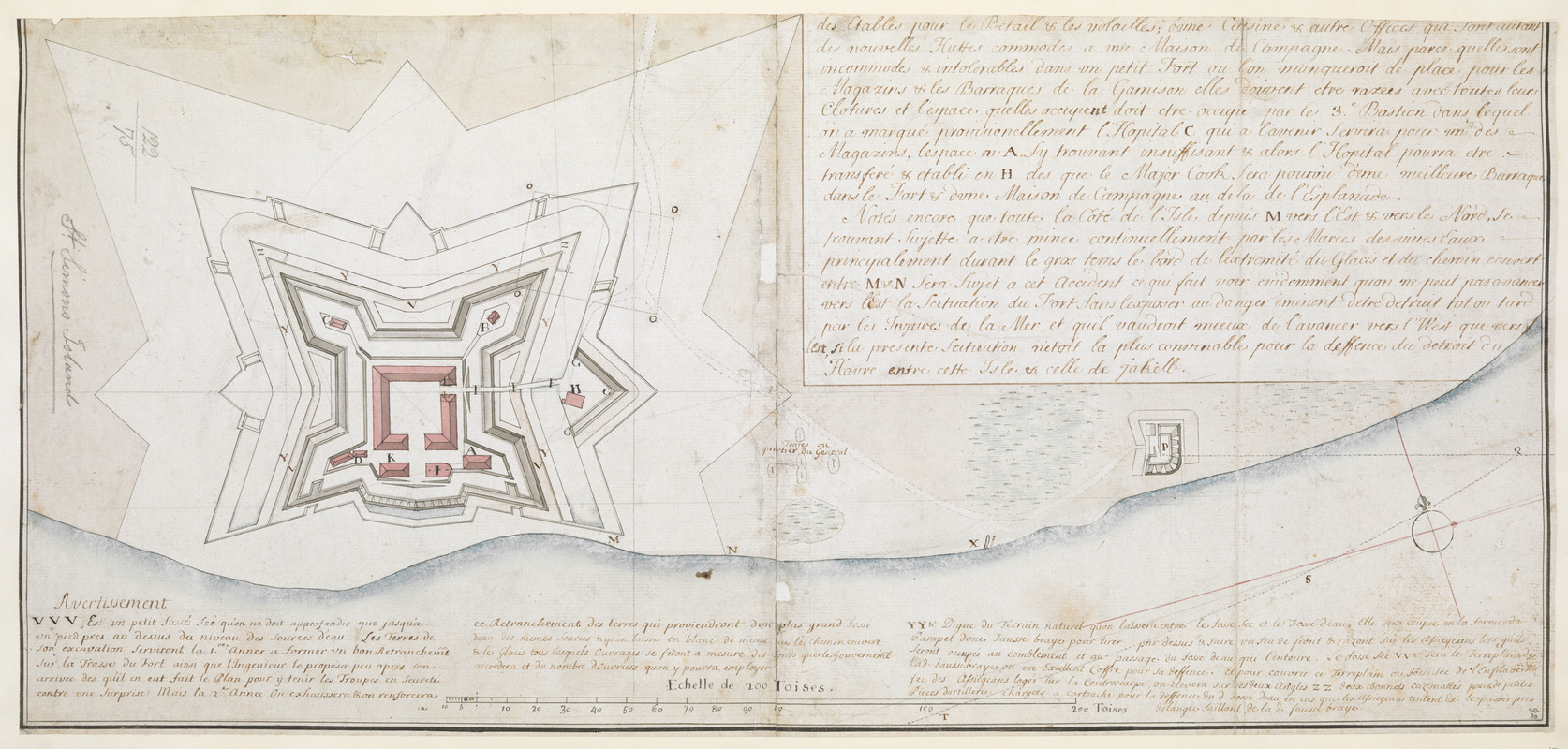 [Map of the proposed fort and adjacent redoubt on Saint Simons Island]