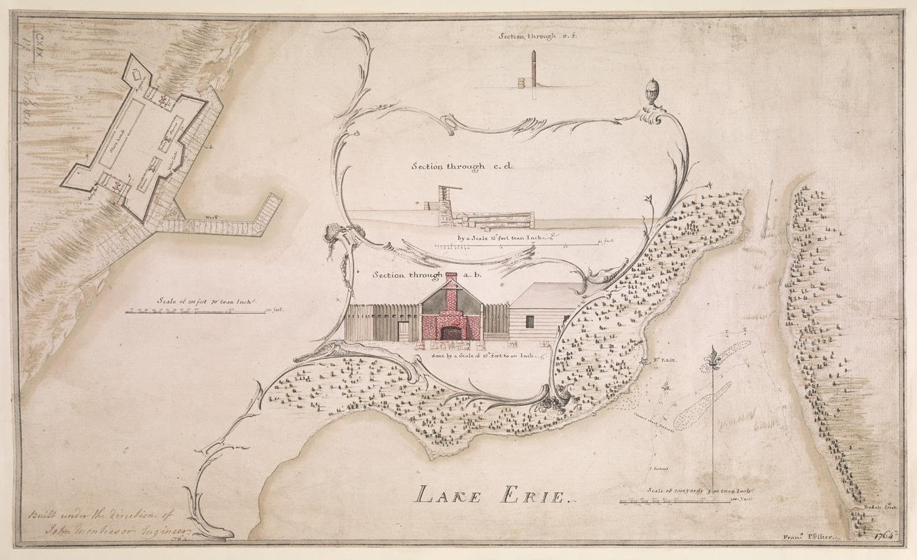 [A coloured chart of the upper part of Lake Erie at Fort Erie and a detailed plan of Fort Erie, together with three cross sectional drawings]