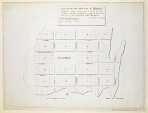 A PLAN OF THE TOWN OF ST. GEORGE Situated in Harbor Etang on the North side the Bay of Fundy, projected and laid out under the Orders and directions of His Excellency John Parr Esquire