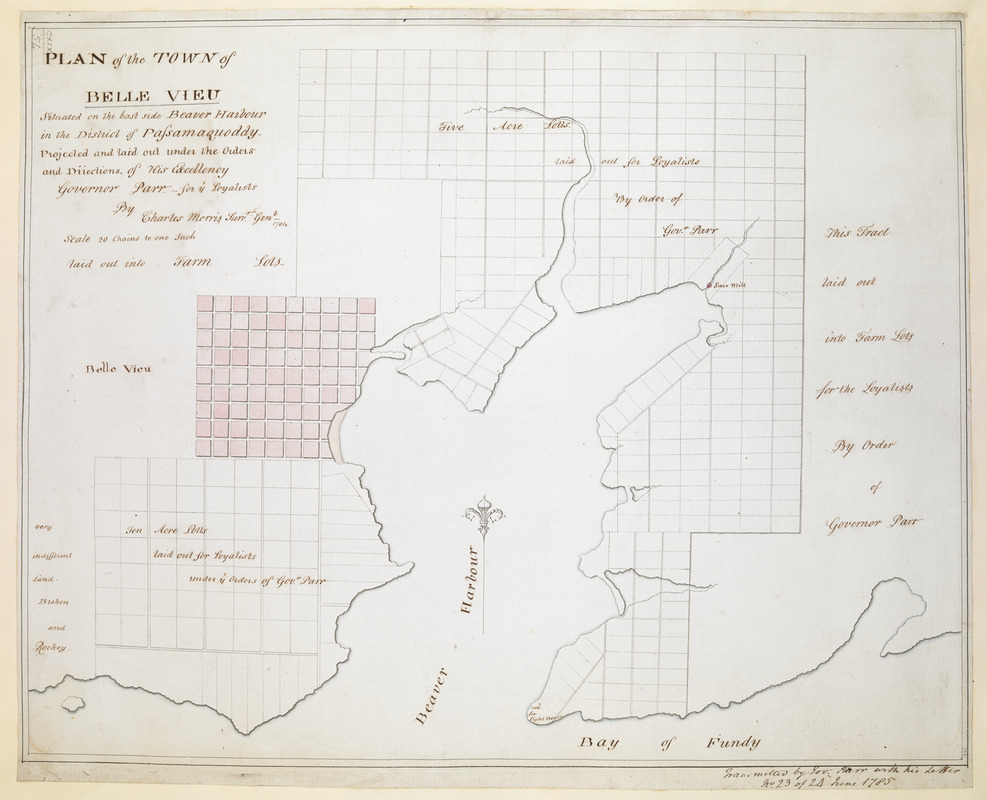 PLAN of the TOWN of BELLE VIEU situated on the East side Beaver Harbour in the District of Passamaquoddy