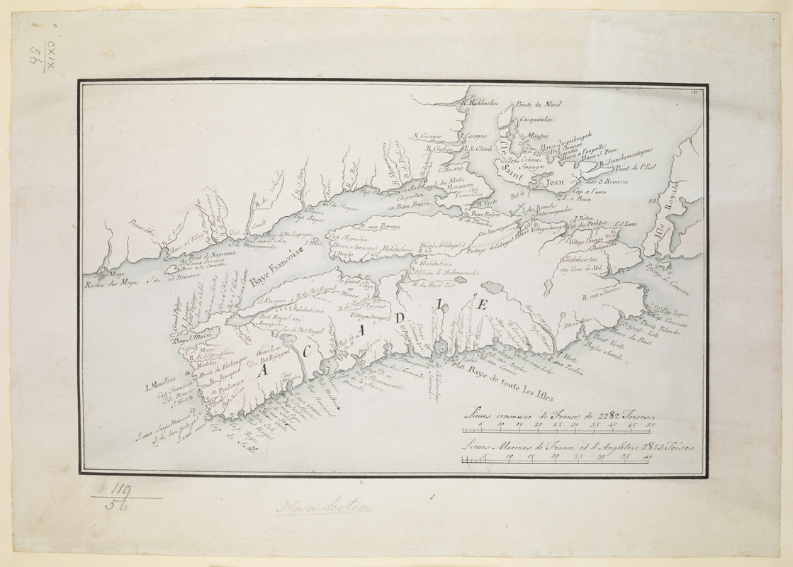 [Acadie, Isle Saint Jean and part of Isle Royale with the Baye Francoise]