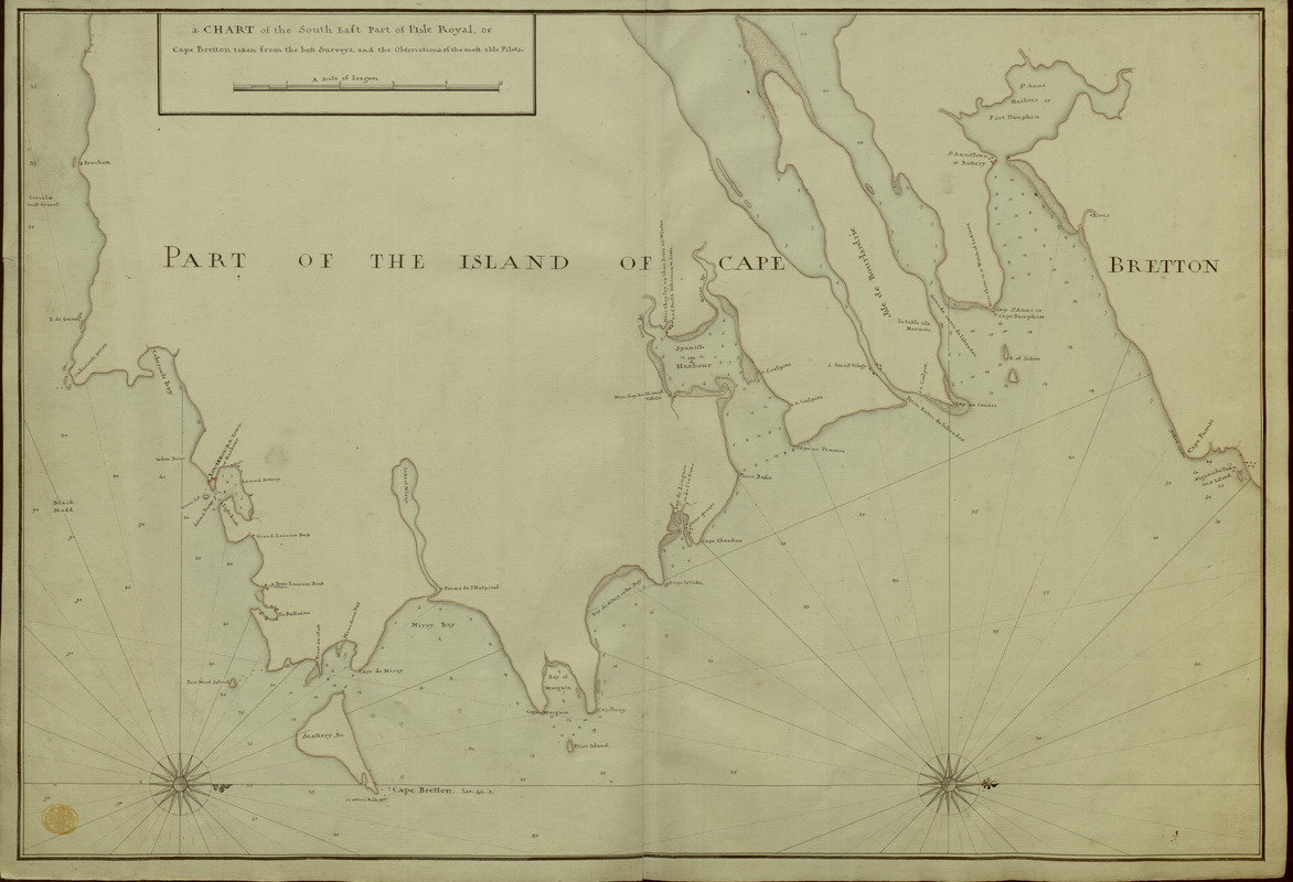 A CHART of the South East Part of l'Isle Royal, or Cape Bretton taken from the best Surveys, and the Observations of the most able Pilots