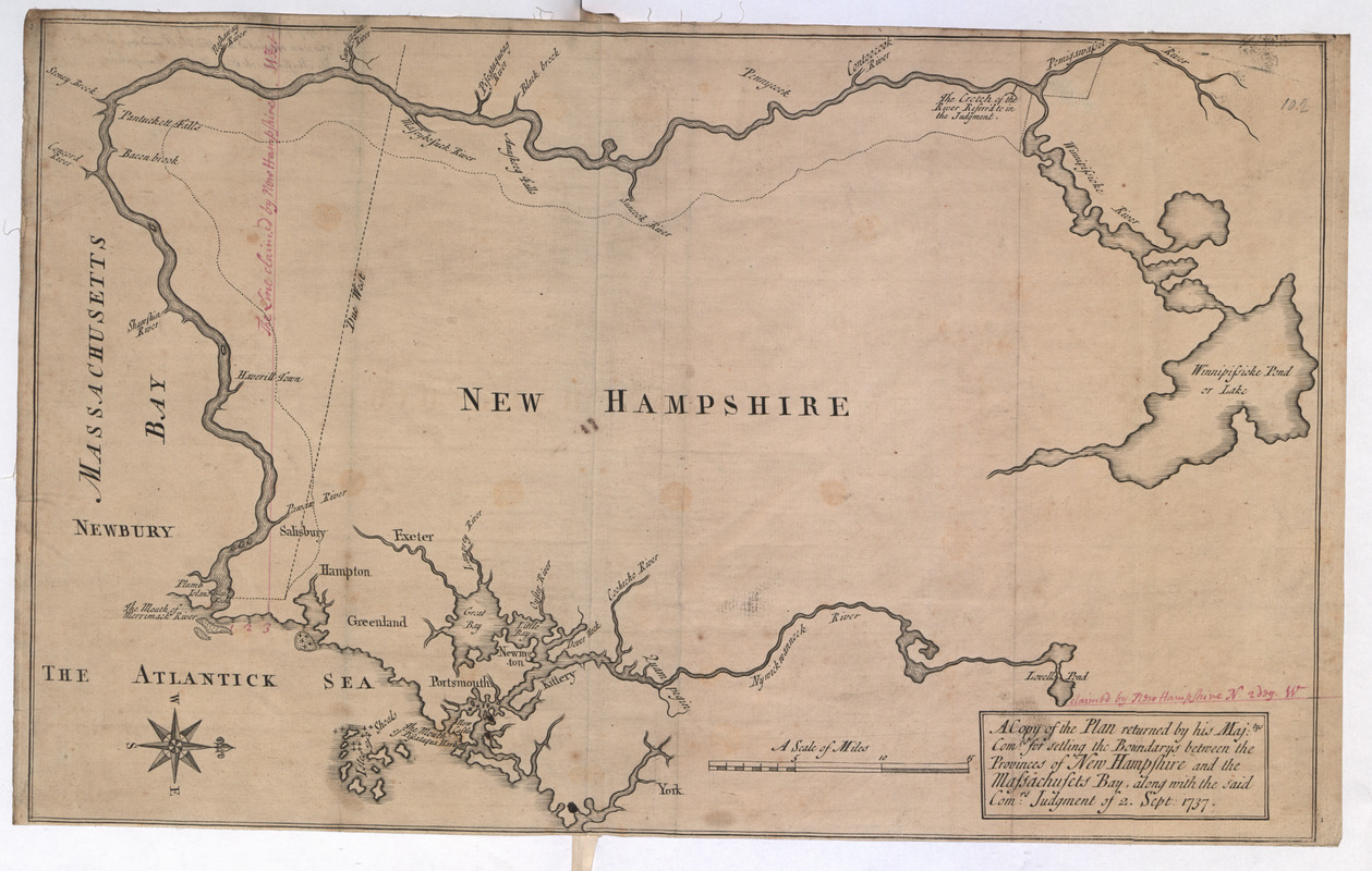 A Copy of the Plan returned by his Maj:tys Com:rs for setling the Boundarys between the Provinces of New Hampshire and the Massachusetts Bay, along with the said Com:rs Judgment of 2. Sept 1737