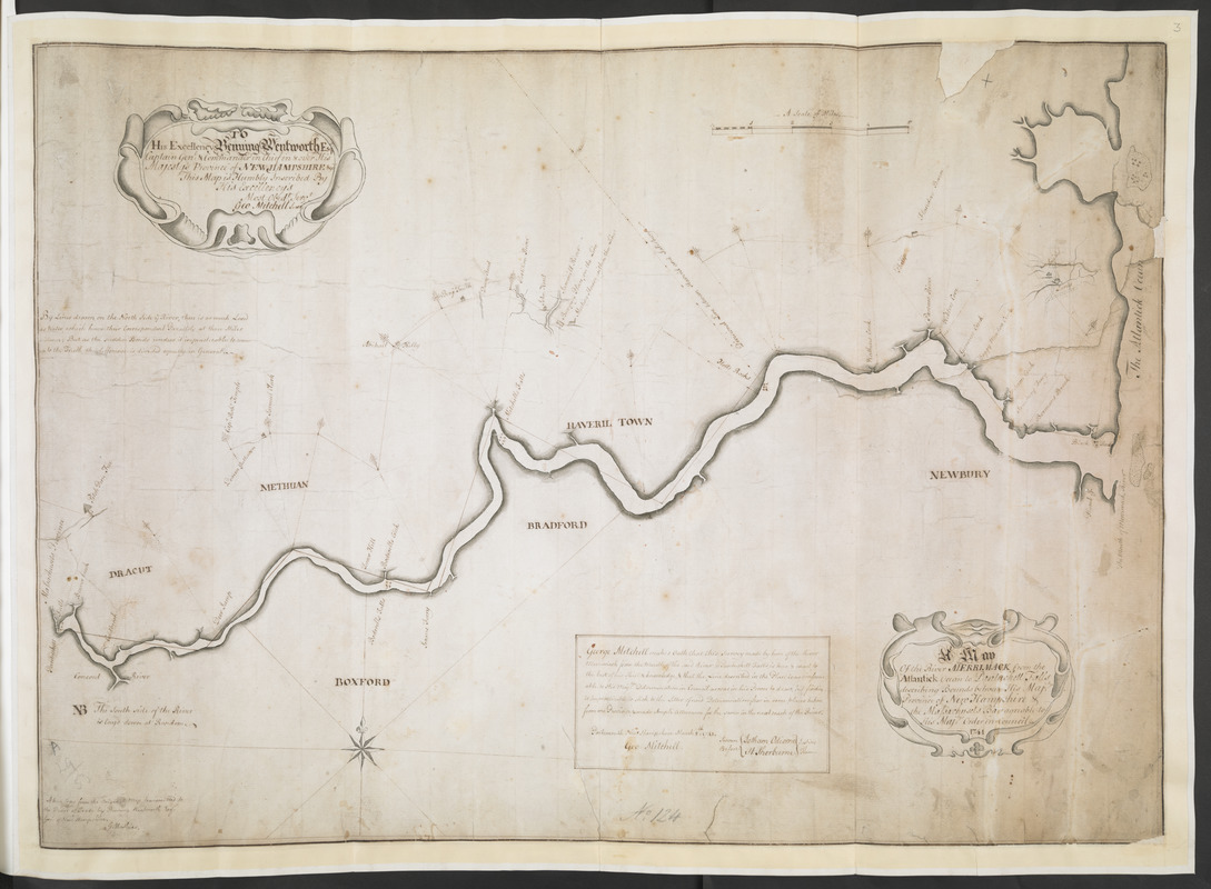 A Map Of the River MERRIMACK from the Atlantick Ocean to Pantuckett Falls describing bounds between His Maj:tys Province of New Hampshire & the Massachusets Bay agreable to His Maj:tys Order in Council 1741