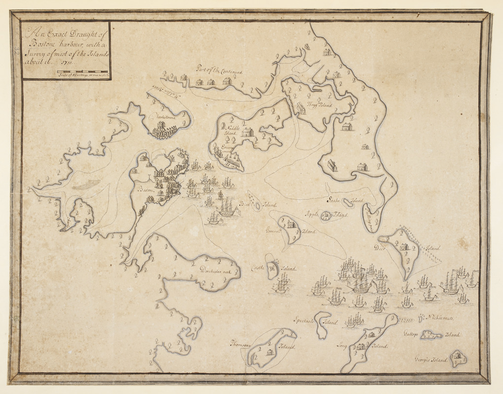 An Exact Draught of Bostone harbour, with a Survey of most of the Islands about it
