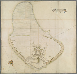 The Icqnographical draft of Castle Island where upon is built Her Maj.ties Castle and by Her Maj.ties Special Command named Castle William cituated in the bay of Boston three Miles S:E of ye town of Boston and South 3/4 of a Mile of ye Mean