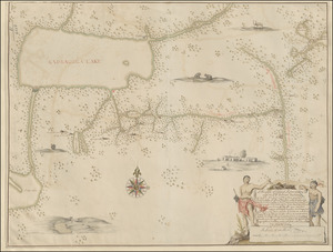 A Mappe of Colonel Römers Voyage to ye: 5 Indian nations going from New Yorck to Albany thence west to ye 3 Macquas Castle and from ye: last Castle called Daganhoge W:S:W towards Onyades a Second nation, and thence to ye Onondages the third nation, & there I was Stoped & could not proced any forther for some important reassons & obliged to go from Onondages to ye Lake of Cananda down Cananda River till we met Onnondages River & Osweges Riv: from whence we were to returne towards Onnondages having no provision & thence to Ononyedes & from thence to ye carring place wood kill & Bever kill & so to Oneyades agin & thence to Albany as it is set forth with read pricked lines