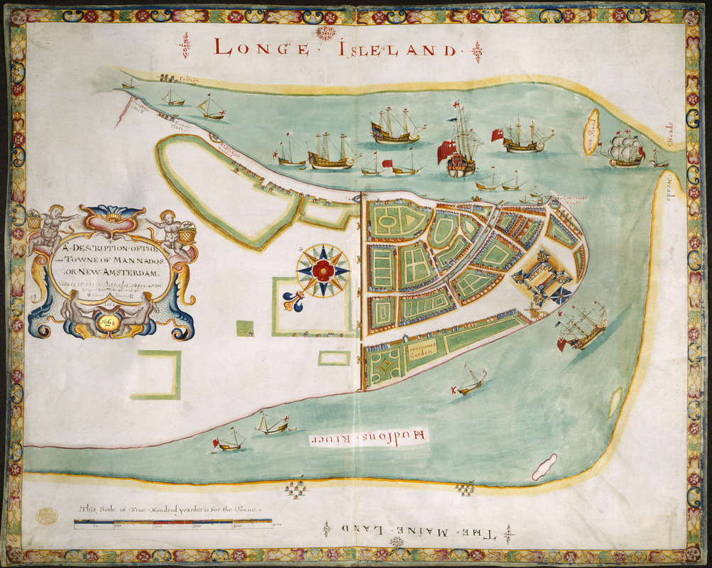 A DESCRIPTION OF THE TOWNE OF MANNADOS OR NEW AMSTERDAM as it was in September 1661 lying in Latitude 40 de: and 40,: Anno Domini 1664