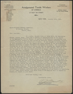 A. Muste (Amalgamated Textile Workers of America) typed letter signed to Sacco-Vanzetti Defense Committee; New York, N.Y., January 19, 1921