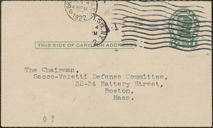 Edwin H. Anderson typed postcard to Sacco-Vanzetti Defense Committee, New York, N.Y., February 3, 1922