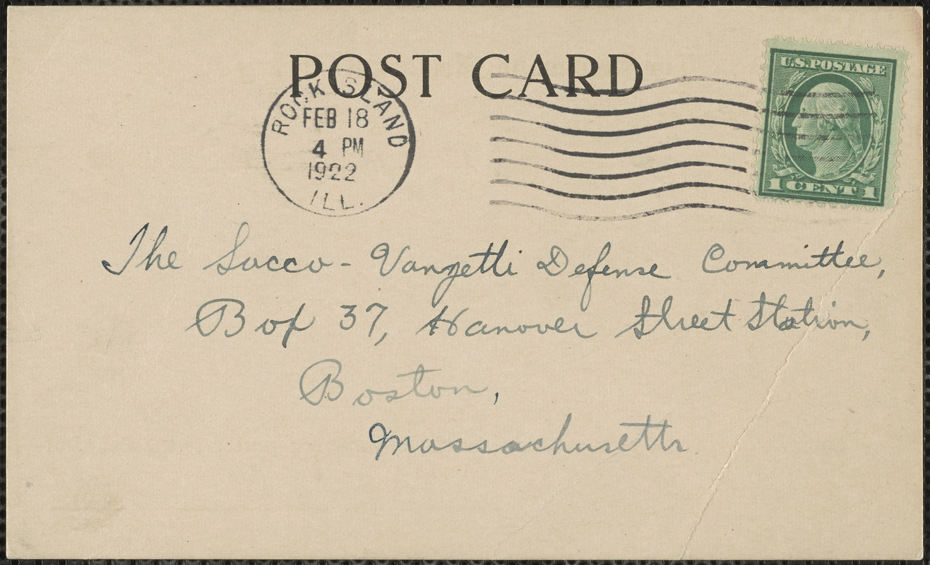 I. Nothstein (Denkman Memorial Library, Augustana College and Theological Seminary) autograph note signed (postcard) to Sacco-Vanzetti Defense Committee, Rock Island, Ill., February 17, 1922