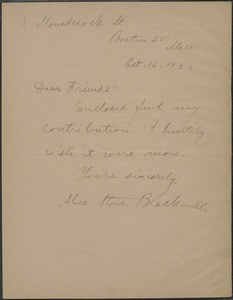 Alice Stone Blackwell autograph note signed to Sacco-Vanzetti Defense Committee, Boston, Mass., October 16, 1922