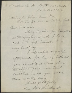 Alice Stone Blackwell autograph letter signed to Sacco-Vanzetti Defense Committee, Boston, Mass., March 25, 1923