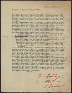 Felice Guadagni typed letter signed, in Italian, to Sacco-Vanzetti Defense Committee, Boston. Mass., July 20, 1923