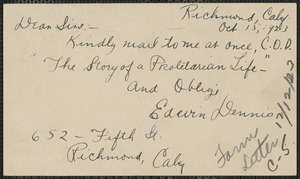 Edwin Dennis autograph postcard signed to Sacco-Vanzetti Defense Committee, Richmond, Calif, October 15, 1923