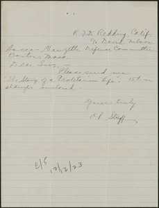 A. F. Streff autograph note signed to Sacco-Vanzetti Defense Committee, Redding, Calif., October 22,1923