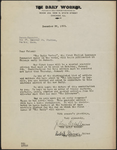 J. Louis Engdahl (The Daily Worker) typed letter signed to Sacco-Vanzetti Defense Committee, Chicago. Ill., December 26, 1926