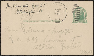 Antonio Izzo autograph postcard signed, in Italian, to Sacco-Vanzetti Defense Committee, Whitingham, VT., March 14, 1924